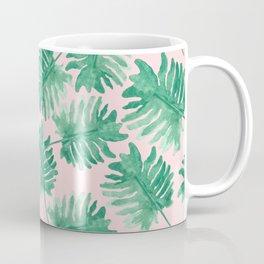 Plants on Pink Monstera Leaf Pattern Coffee Mug