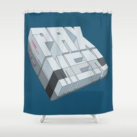 men Shower Curtains featuring PAX-MEN by Mr. Pax-man