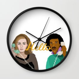 Two People Saying Hello - By Cup of Sarcasm Wall Clock