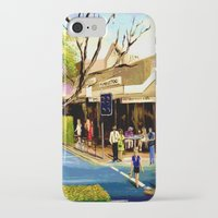 cafe iPhone & iPod Cases featuring Sidewalk Cafe by Helen Syron