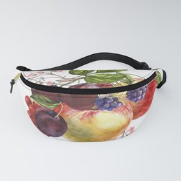 Composition of realistic fruits on a white background in vintage style. Apples, raspberries, plums, Fanny Pack