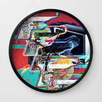 tv Wall Clocks featuring TV by Jerry Shirts