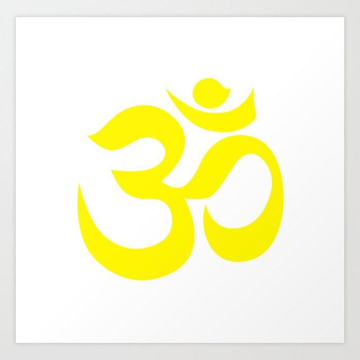 Yellow Aum Om Reiki Symbol On White Background Art Print By