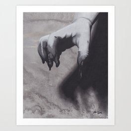 Realism Charcoal Drawing of Bloody Dripping Hand Art Print