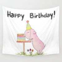 happy birthday Wall Tapestries featuring Happy Birthday!  by FLeK'N