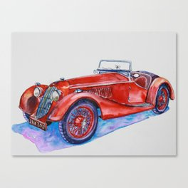 Classic red old car with purple shadow Canvas Print
