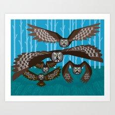 Five Owls In Flight Art Print