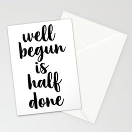 Well Begun Is Half Done, Inspirational Quote, Typography Print, Calligraphy Art, Inspiring Stationery Cards