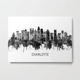 Charlotte North Carolina Skyline BW Metal Print