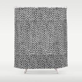 Hand Knit Grey Black Shower Curtain