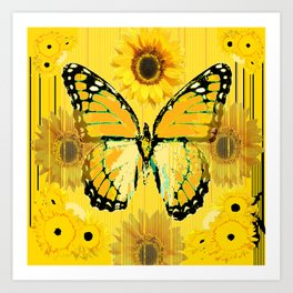 ABSTRACT BUTTER COLORED YELLOW BUTTERFLY FLORA Art Print