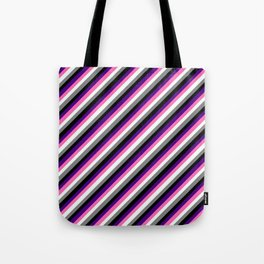 Eye-catching Indigo, Hot Pink, Mint Cream, Gray, and Black Colored Stripes/Lines Pattern Tote Bag