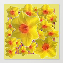 YELLOW-GOLD DAFFODILS FLOWER COLLAGE Canvas Print