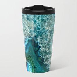 Aqua turquoise agate mineral gem stone- Beautiful backdrop Travel Mug