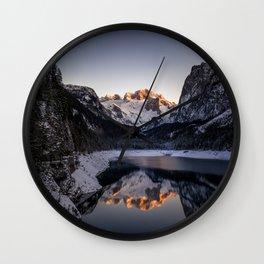 wonderful Gosau Lake Sunset Scene in Winter Wall Clock