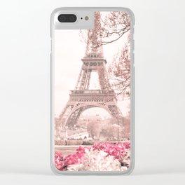 Paris Nursery, White, Eiffel Tower Clear iPhone Case
