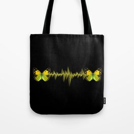 Pulse - Yellow butterflies sound waves Tote Bag