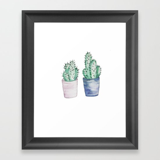 Cacti watercolor illustration Framed Art Print