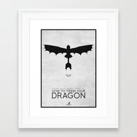 how to train your dragon Framed Art Prints featuring How To Train Your Dragon - minimal poster by Mads Hindhede Svanegaard
