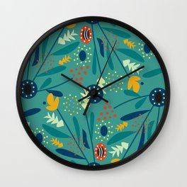 Floral dance in blue Wall Clock