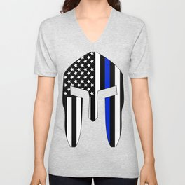 Spartan Helmet USA Flag Thin Blue Line Unisex V-Neck