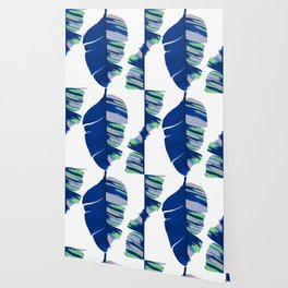Elegant Bold Blue Tropical Banana Leaves Design Wallpaper