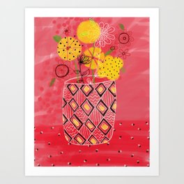 Yellow flowers in coral vase Art Print