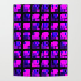 Interweaving tile of violet intersecting rectangles and dark bricks. Poster