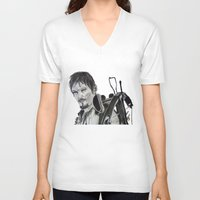 daryl V-neck T-shirts featuring Daryl Dixon by Brittany Ketcham