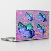 butterflies Laptop & iPad Skins featuring butterflies by Shea33