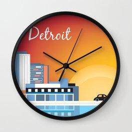 Detroit, Michigan - Skyline Illustration by Loose Petals Wall Clock