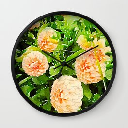 Peaches and Cream Dahlias Wall Clock