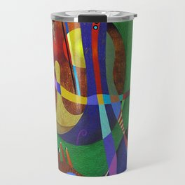 Painting abstract climbing in the mountains Travel Mug