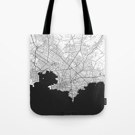 Montevideo Map Gray Tote Bag