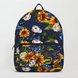 Modern yellow orange blue watercolor sunflower floral pattern Backpack
