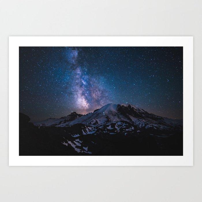 Mount Rainier under the stars Art Print