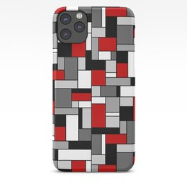 Mid Century Modern Color Blocks in Red, Gray, Black and White iPhone Case