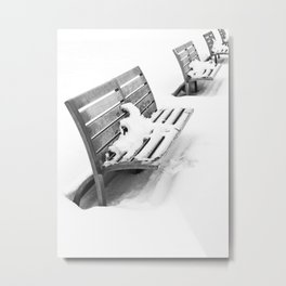 Benches in Winter Metal Print