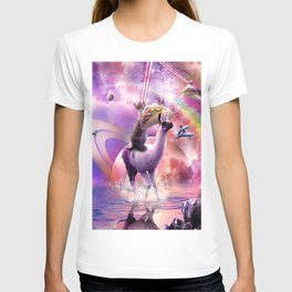 Rainbow Laser Cat On Llama Unicorn Eating Taco T-shirt
