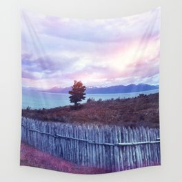 Sunset and lone tree Wall Tapestry