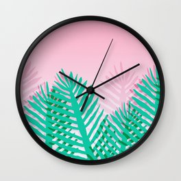 So Fine - palm springs desert plants indoor tropical oasis nature neon memphis throwback 1980s style Wall Clock