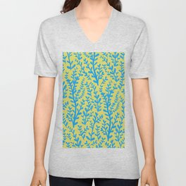 Yellow and Blue Floral Leaves Gouache Pattern Unisex V-Neck