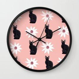 Cornish Rex Cat - Daisy Pink Wall Clock