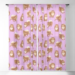 Pomeranian Pattern (Lilac Background) Sheer Curtain