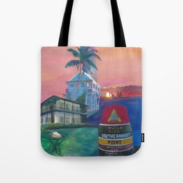 Key West Florida Southernmost Dreams Retro Travel Vintage Poster Tote Bag