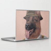german shepherd Laptop & iPad Skins featuring German Shepherd by Rachel Waterman