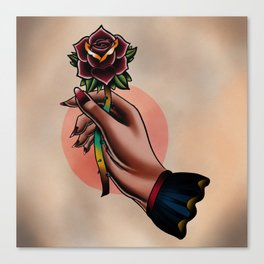 Hand holding a rose Canvas Print
