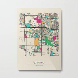 Colorful City Maps: Lansing, Illinois Metal Print