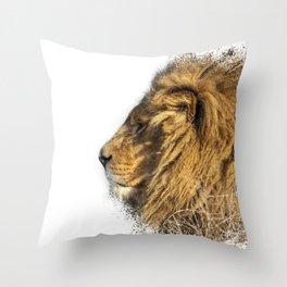 Lion Head Splatter Throw Pillow