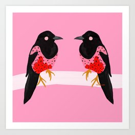 Two for joy Magpie illustration, fashion illustration, fashion prints, colourful prints Art Print
